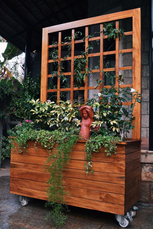Outdoor Wooden Planter Box Trellis Plant Ornamental Plants In